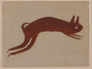 A watcolor painting of a rabbit in red.