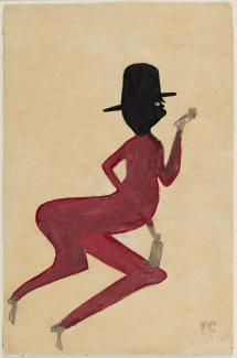 This is an image of a man painting in red with a black head and hat.