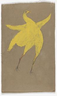 A painting of a chicken in yellow.