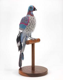 A crocheted passenger pigeon.