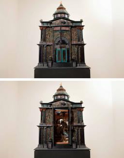 Two photographs of a model building.