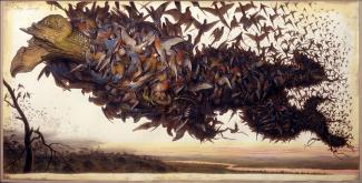 A painting of a tree being engulfed and carried by birds.