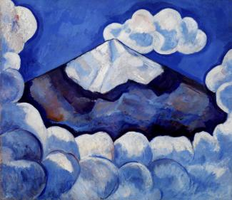 A painting of a mountain in blue tones with clouds surrounding it.