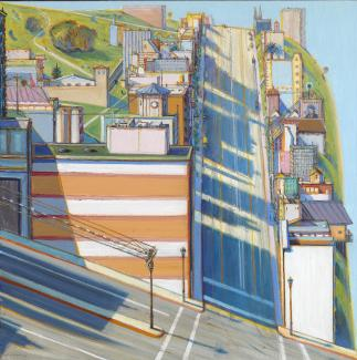 A painting of the steep streets in San Francisco.