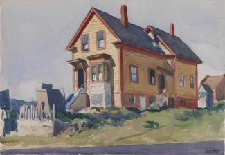 A watercolor painting of a house on a green hill.