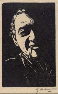 A woodcut painting of a man with a cigarette in his mouth.