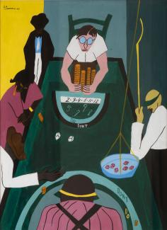 A painting of figures sitting around a green table