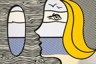 A pop art painting of a blonde woman looking through a hole in a wall.