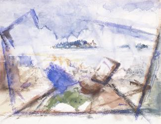 A watercolor and charcoal painting of an abstract scene in the foreground, and an island in the background with water in the middle ground.