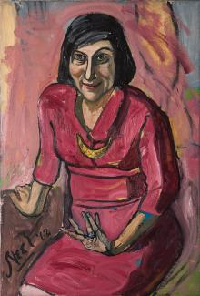 A painting of a woman sitting down in a pink/red dress.