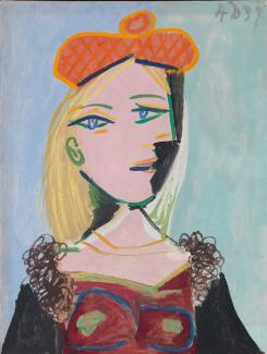 A painting of a woman with blonde hair and an orange french hat.