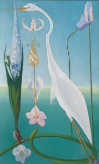 A painting of a white heron with flowers.