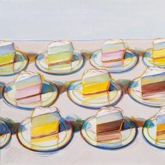 A painting of plates with pies on them.