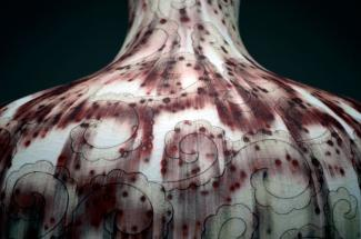 A detail of a porcelain vase.