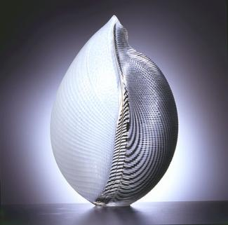 A white and black glass object.