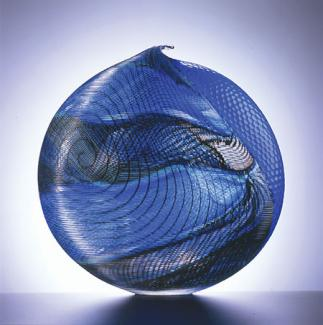 A blue glass vessel.