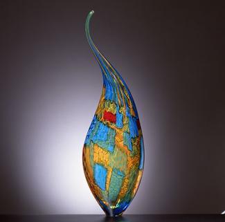 A multicolored glass vessel.