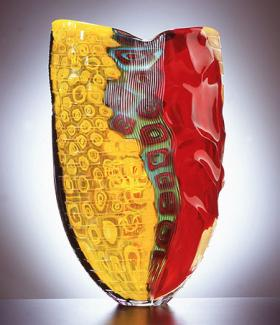 A yellow and red glass object.