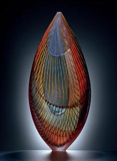 A colorful glass vessel