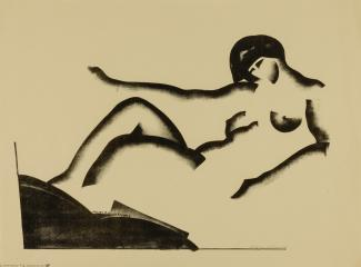 A contour line painting of a naked woman.