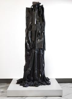 A large black steel sculpture.