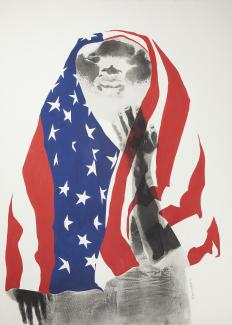 A lithograph of ET with an American flag over his head.