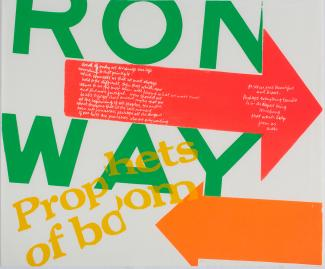 A screenprint with letters and words in green, red, yellow and orange.