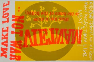 A screenprint of words in yellow and red with an image behind it.