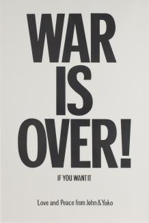 "A lithograph of ""War is Over!"" in black print."