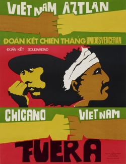 Poster ot two back to back figures and text reading Vietnam Aztlan Chicano Vietnam Fuera on red and green background