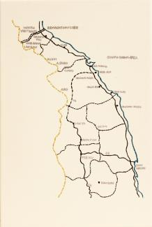 A map with blue, brown, and yellow lines and text for locations.