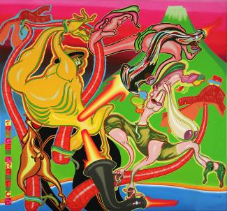 A painting in bright colors with abstract figures.