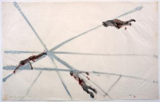 A painting of grey lines with three bodies and blood.