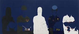 A painting in dark blue with white and black figures.