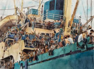 A painting of the side of a ship with a lot of people on it.