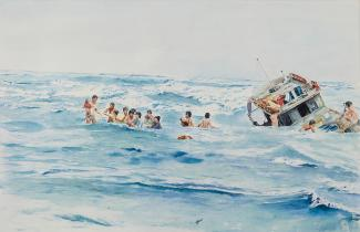 A painting of a boat tipped over in the ocean and individuals swimming.