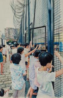 A painting of children looking through a fence.