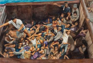 A painting of many people laying down in a container.