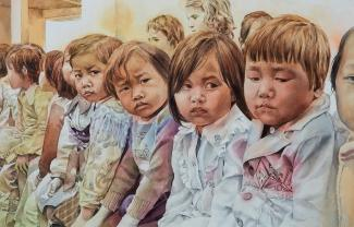 A painting of eight children sitting down in a row.