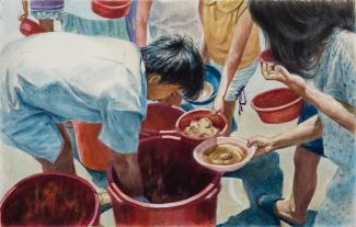 A painting of a man getting food out of a bucket to feed others.