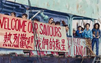 "A painting of people standing up next to a sign that says ""welcome our saviours"""