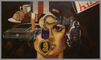 A painting of a woman's face with different objects around it - a car, a cigarette, a solider, a purple heart, etc.
