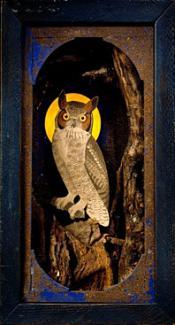 A box with an owl inside.