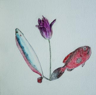 A drawing of two fish with a flower in the middle.