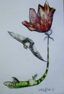 A drawing of a flower with a lizard as the stem and a bat as a leaf.