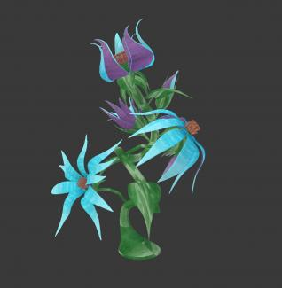 A digital reproduction of a purple and blue flower.