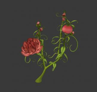 A digital reproduction of a red rose.
