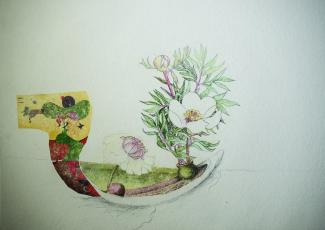 A drawing of a boat with a flower in it.