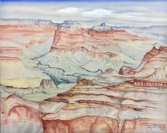 Exhibitions - Chiura Obata, Grand Canyon, May 15, 1940, watercolor on silk, Amber and Richard Sakai Collection