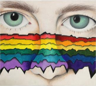 A drawing of a face with a rainbow of wave lengths drawn over their nose.